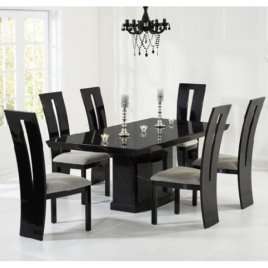 Hamlet Marble Dining Table In Black And 6 Ophelia Grey Pertaining To Extending Marble Dining Tables (Image 13 of 25)