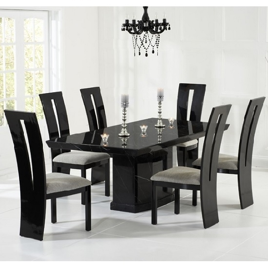Hamlet Marble Dining Table In Black And 6 Ophelia Grey throughout Black Dining Tables