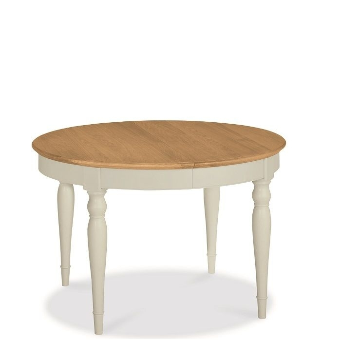 Hampstead Soft Grey And Oak Small Round Extending Dining Table Inside Jaxon Round Extension Dining Tables (Image 7 of 25)