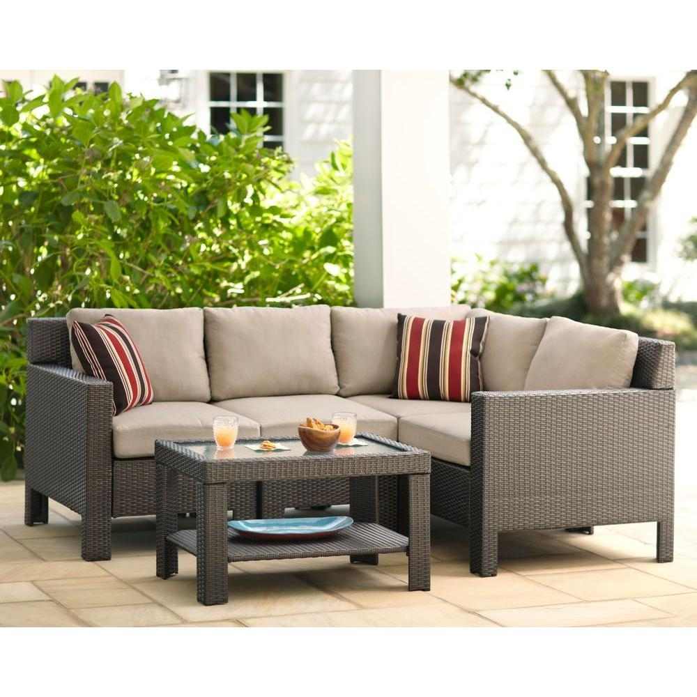 Hampton Bay Beverly 5 Piece Patio Sectional Seating Set With Beverly With Regard To Haven 3 Piece Sectionals (Image 10 of 25)