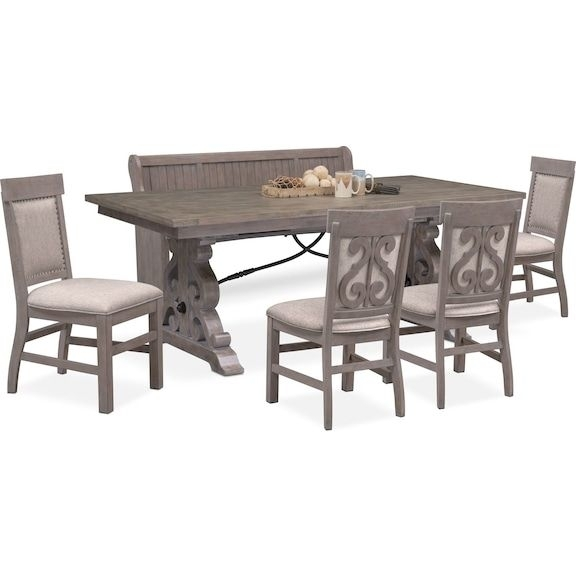 Hampton Counter Height Dining Table And 6 Upholstered Stoo Intended For Gavin 6 Piece Dining Sets With Clint Side Chairs (View 8 of 25)