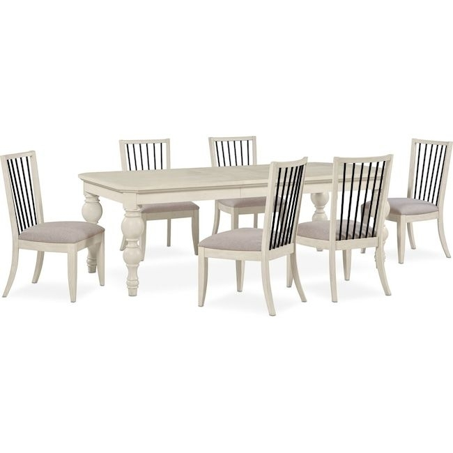 Hampton Counter Height Dining Table And 6 Upholstered Stoo Pertaining To Gavin 6 Piece Dining Sets With Clint Side Chairs (View 3 of 25)
