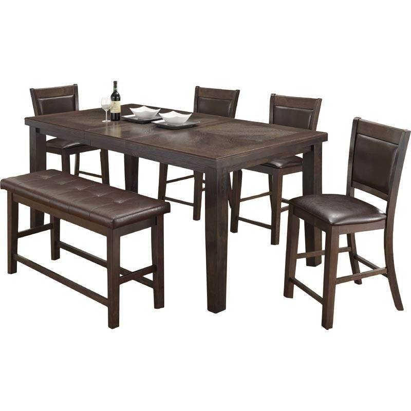Hampton Counter-Height Dining Table And 6 Upholstered Stoo with Gavin 6 Piece Dining Sets With Clint Side Chairs