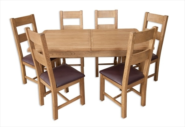 Hampton Country Rustic Oak 1.6 Extending Dining Table & 6 Chair Set inside Oak Dining Tables With 6 Chairs