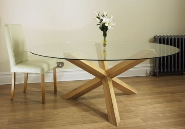 Hampton Solid Oak Furniture Round Glass Dining Table 5Ft | Ebay for Round Glass and Oak Dining Tables
