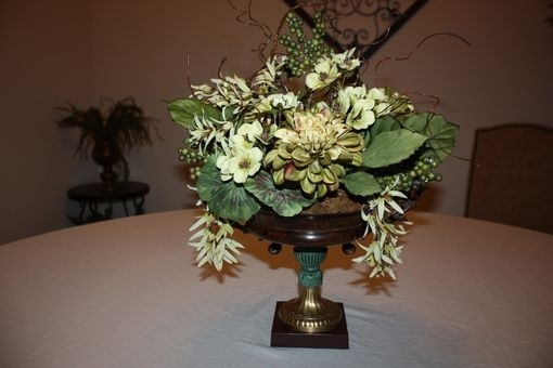 Hand Made Dining Table Centerpiece Silk Flower Arrangement, Home In Artificial Floral Arrangements For Dining Tables (Image 19 of 25)