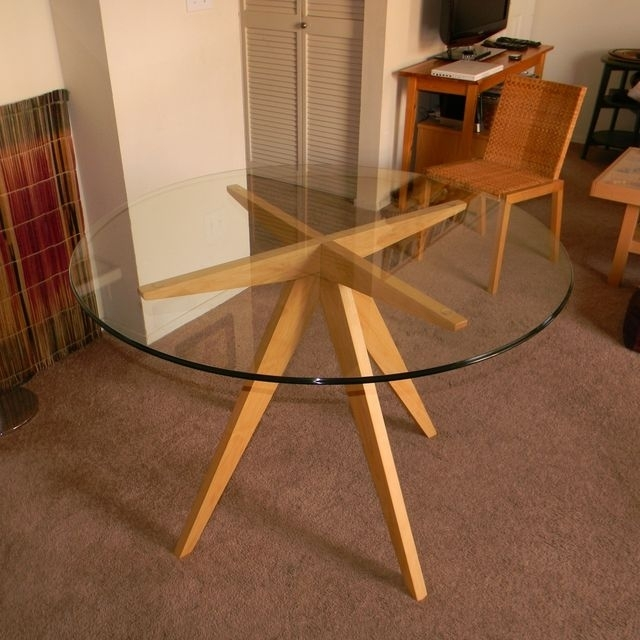 Hand Made Ibi's Table Base For Glass Top Dining Tableantikea Pertaining To Round Glass Dining Tables With Oak Legs (Image 13 of 25)