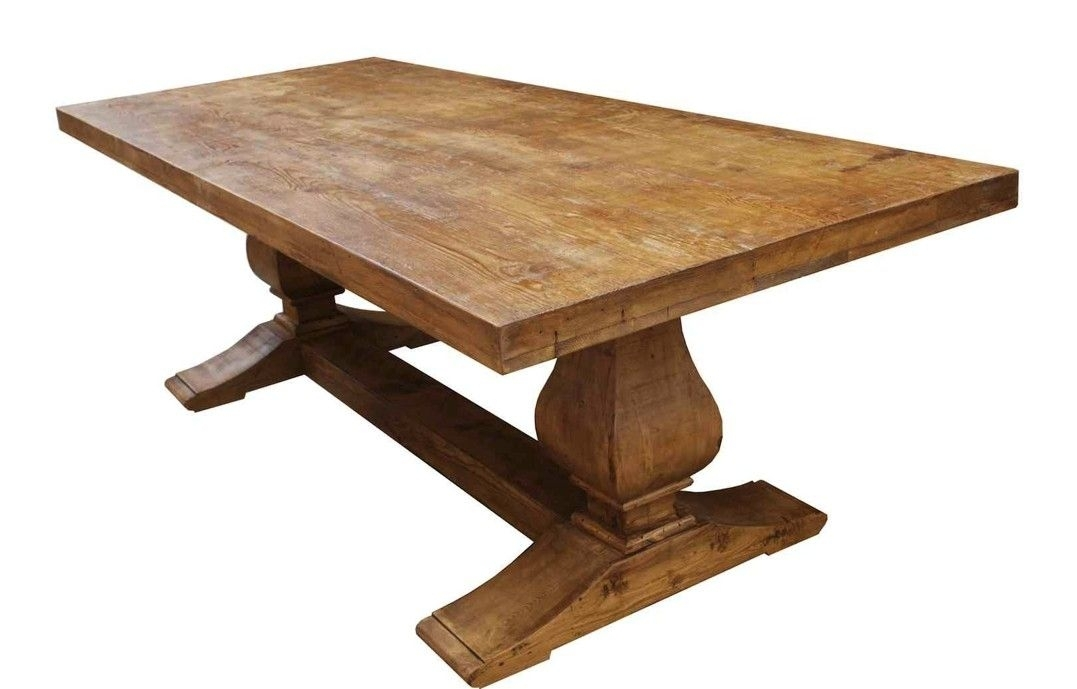 Hand Made Segovia Reclaimed Wood Trestle Dining Tablemortise Inside Cheap Reclaimed Wood Dining Tables (View 15 of 25)