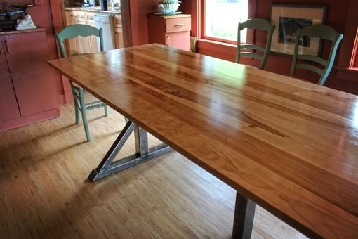 Handmade Birch And Steel Trestle Dining Tablehiggins Fabrication Within Birch Dining Tables (View 2 of 25)