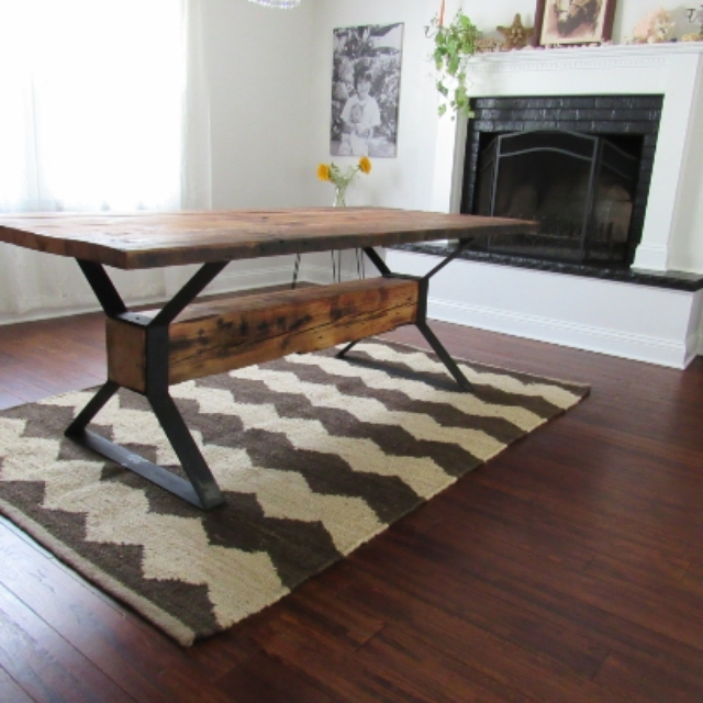 Handmade Industrial Trestle Reclaimed Wood Dining Tablethe Urban For Cheap Reclaimed Wood Dining Tables (Image 9 of 25)