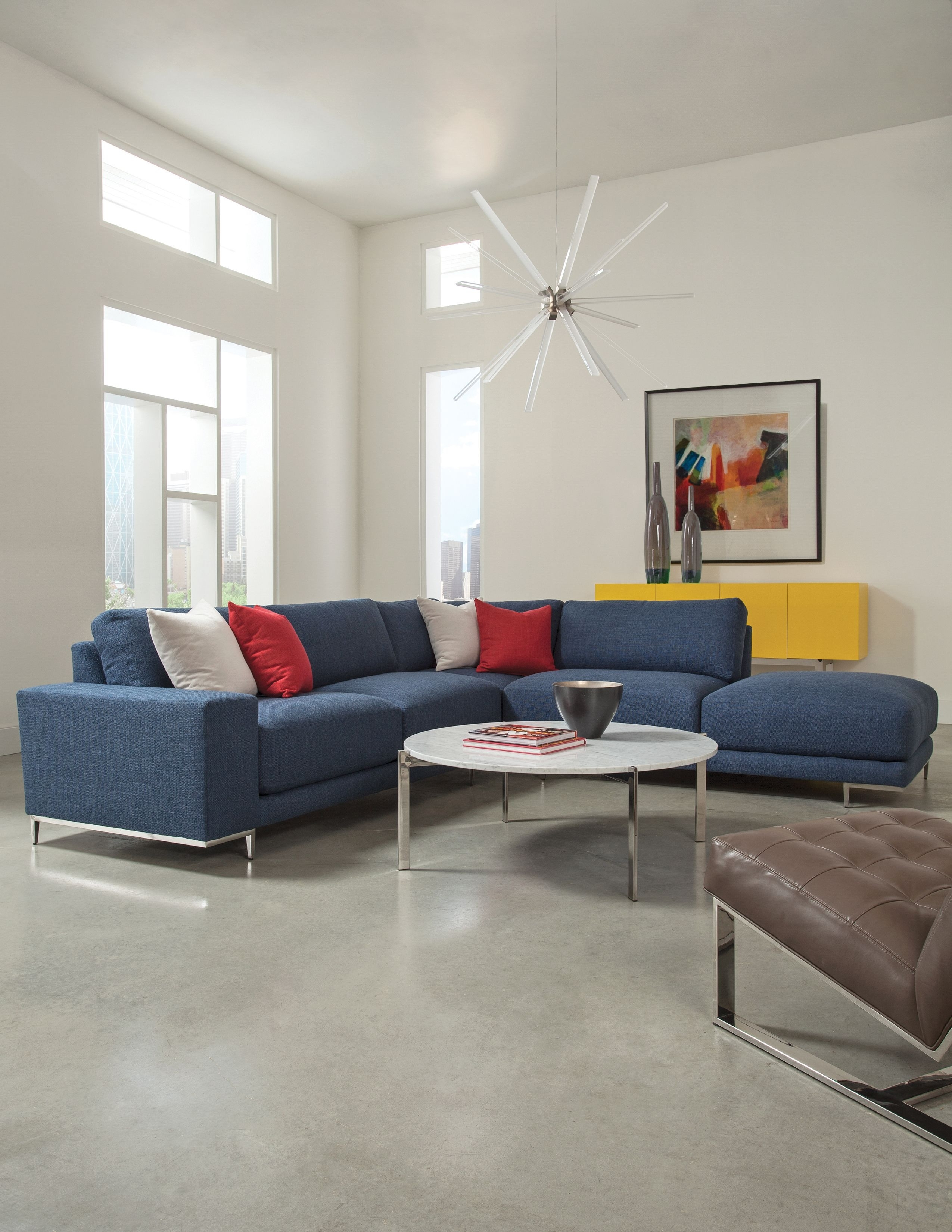 Hangover Modular Sectional Sofa With Drop In Cocktail Table And Milo Pertaining To Avery 2 Piece Sectionals With Raf Armless Chaise (Image 16 of 25)