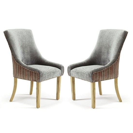 Hannah Dining Chair In Steel And Orange Fabric With Oak With Oak Fabric Dining Chairs (Image 13 of 25)