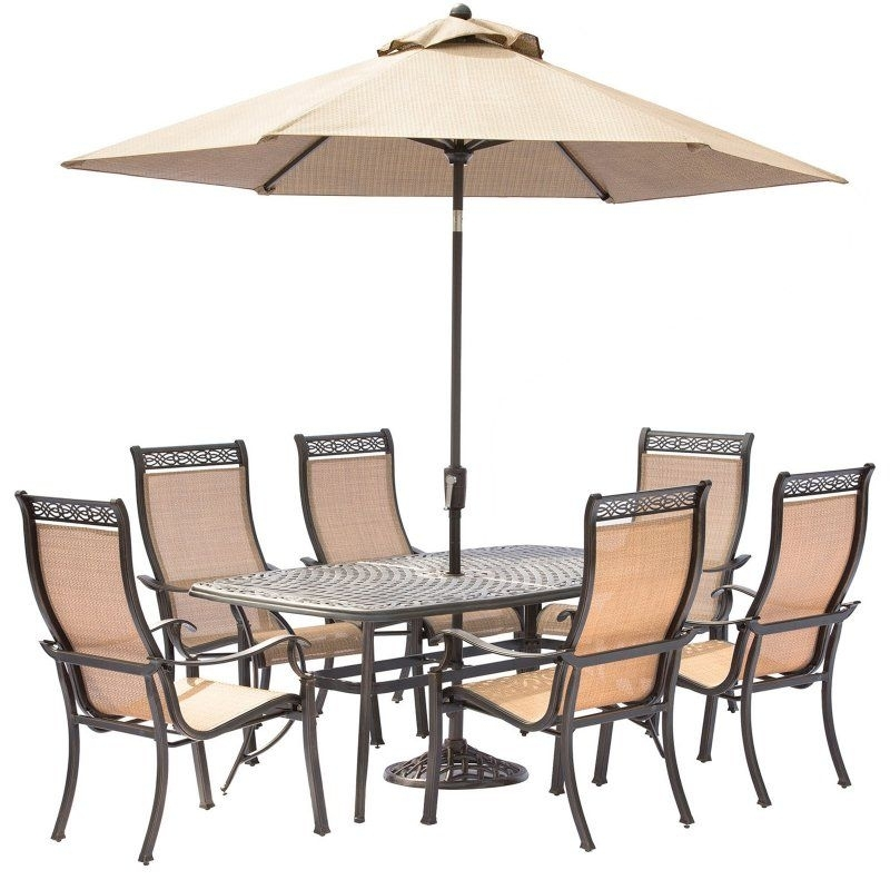 Hanover Manor Aluminum Rectangular 7 Piece Patio Dining Set With Regarding Chapleau Ii 7 Piece Extension Dining Table Sets (Image 13 of 25)