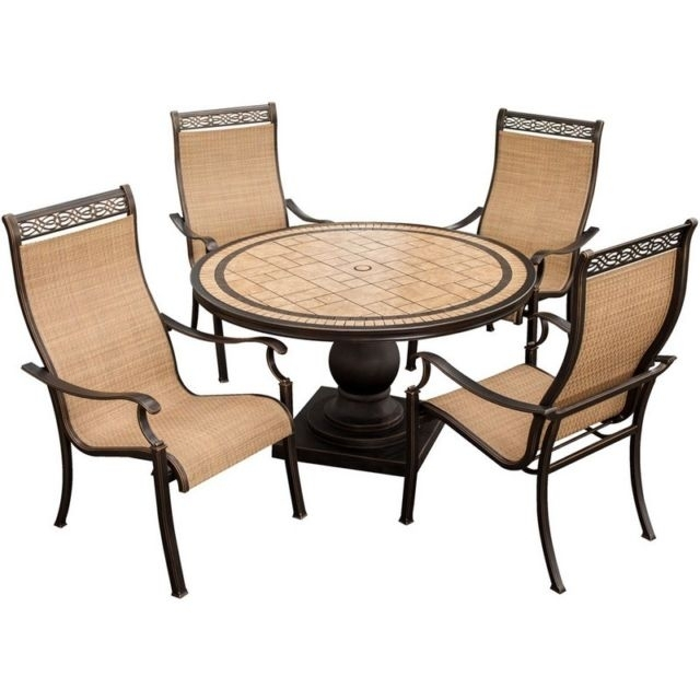 Hanover Monaco High Back Sling Outdoor Dining Chairs – Set Of 4 | Ebay Intended For Monaco Dining Sets (Image 7 of 25)