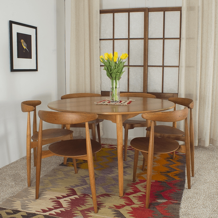 Hans Wegner Round Table And 6 Heart Chairs - Midmod Decor intended for Lassen Round Dining Tables