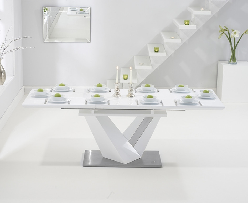 Harmony 160Cm Extending White High Gloss Dining Table | The Great Intended For Extending White Gloss Dining Tables (Image 8 of 25)