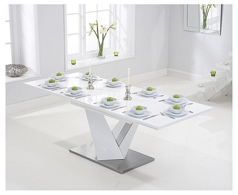 Harmony 160Cm Extending White High Gloss Dining Table With Extending White Gloss Dining Tables (View 14 of 25)