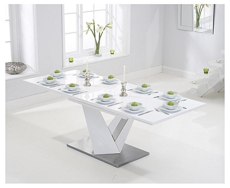 Harmony 160Cm Extending White High Gloss Dining Table With Extending White Gloss Dining Tables (Image 9 of 25)