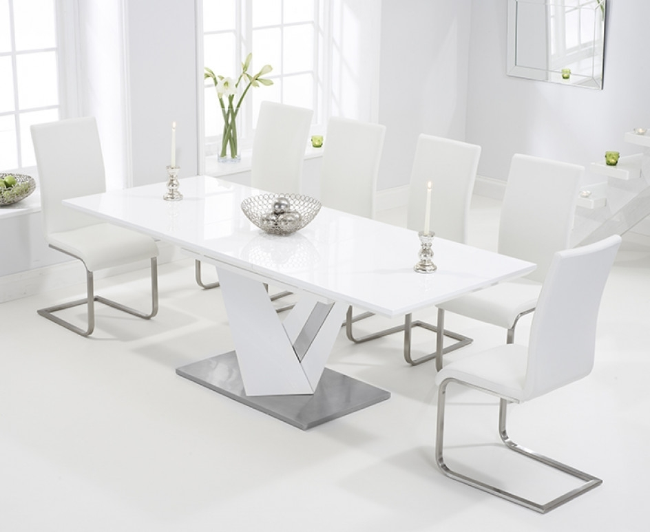 Harmony 160Cm White High Gloss Extending Dining Table With Malaga Throughout High Gloss White Extending Dining Tables (Image 9 of 25)
