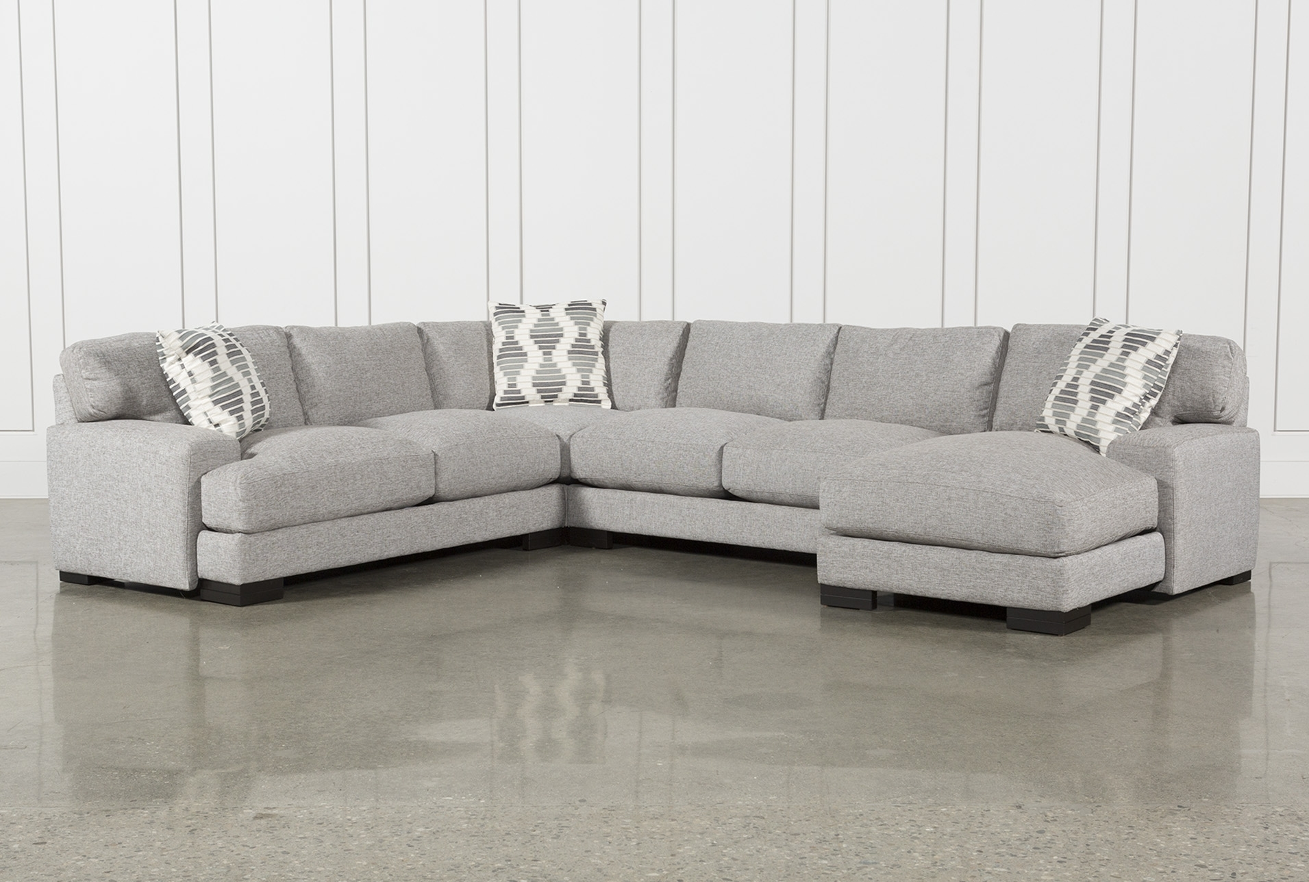 Harper Foam 3 Piece Sectional W/raf Chaise Intended For Aquarius Light Grey 2 Piece Sectionals With Raf Chaise (Image 11 of 25)