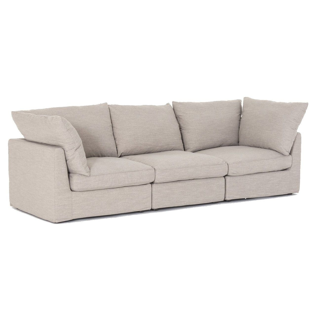 Harper Foam 3 Piece Sectional W/raf Chaise Pertaining To Aquarius Light Grey 2 Piece Sectionals With Raf Chaise (View 25 of 25)