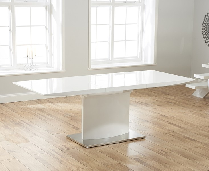 Harper Modern Extending Dining Table White Gloss | Free Delivery | Fads Throughout White Gloss Extendable Dining Tables (Image 7 of 25)