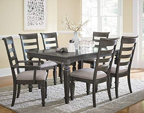 Harrison Smooth Grey Burnished Finish Trestle Table 7 Piece Dining In Market 7 Piece Dining Sets With Side Chairs (Image 13 of 25)