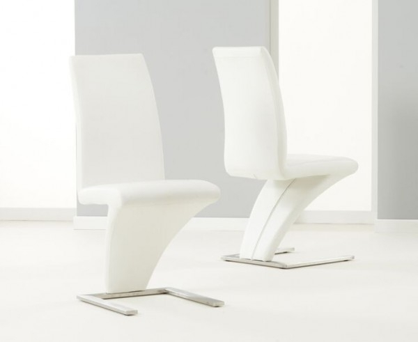 Harry White Leather Dining Z Chair Throughout White Leather Dining Chairs (Image 6 of 25)