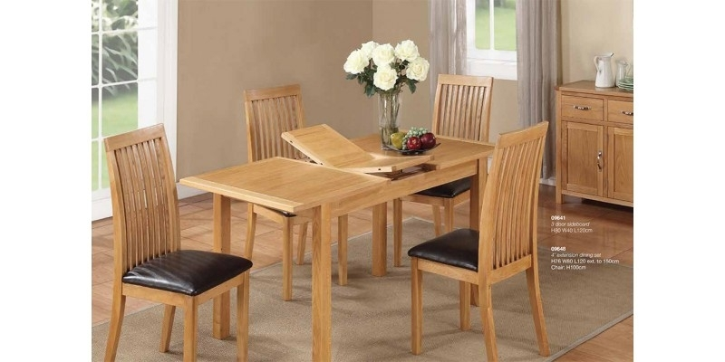 Hartford City Oak Extending Dining Table And 4 Chairs within Oak Extending Dining Tables And Chairs
