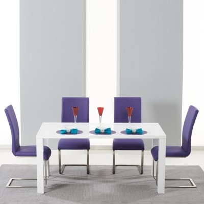Harvey 160Cm High Gloss White Dining Table With 4 Milan Purple Inside Dining Tables And Purple Chairs (Image 8 of 25)
