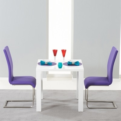 Harvey 80Cm High Gloss White Dining Table With 2 Milan Purple Chairs For Dining Tables And Purple Chairs (Image 9 of 25)