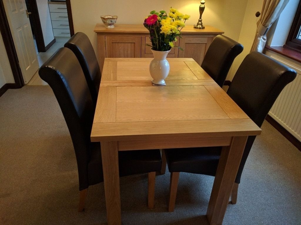 Harvey Solid Oak Small Leaf Extending Dining Table – 120Cm To153Cm X Intended For Harvey Dining Tables (Image 20 of 25)