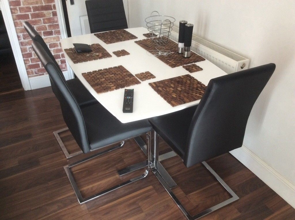 Harvey's Alcora Black Faux Dining Chairs X 4 | In Warrington Regarding Alcora Dining Chairs (Image 14 of 25)