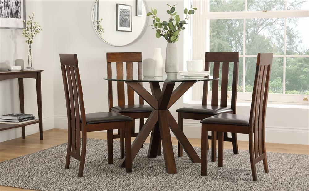 Hatton Round Walnut & Glass Dining Table With 4 Chester Chairs Throughout Chester Dining Chairs (Image 19 of 25)
