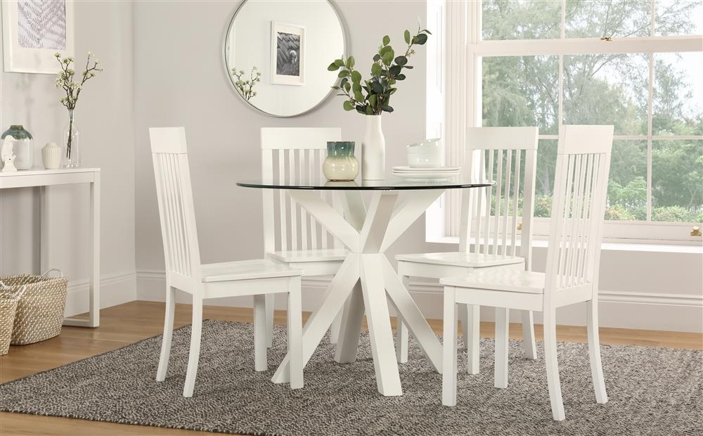 Hatton Round White Wood And Glass Dining Table With 4 Oxford Chairs With Regard To Glass Dining Tables White Chairs (View 18 of 25)