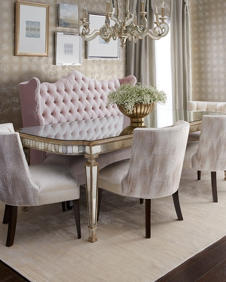 Haute House Tiffany Chair, Isabella Banquette, & Eliza Antiqued In Antique Mirror Dining Tables (View 20 of 25)