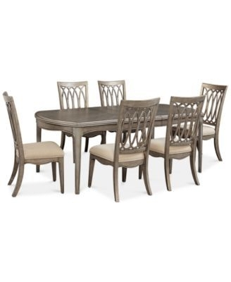 Hayley 7 Pc. Dining Set (Dining Table & 6 Side Chairs) | Dream House Inside Amos 7 Piece Extension Dining Sets (Photo 13 of 25)