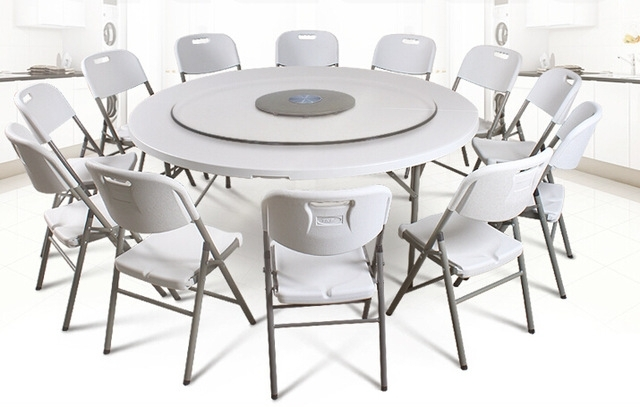 Hdpe Plastic Folding Dining Table Round For Hotels Restaurant Home for Oval Folding Dining Tables