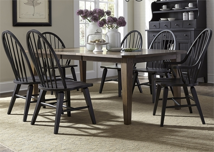 Hearthstone 7 Piece Oak Rectangular Leg Table With Black Windsor Inside Craftsman 7 Piece Rectangle Extension Dining Sets With Arm & Side Chairs (Image 16 of 25)