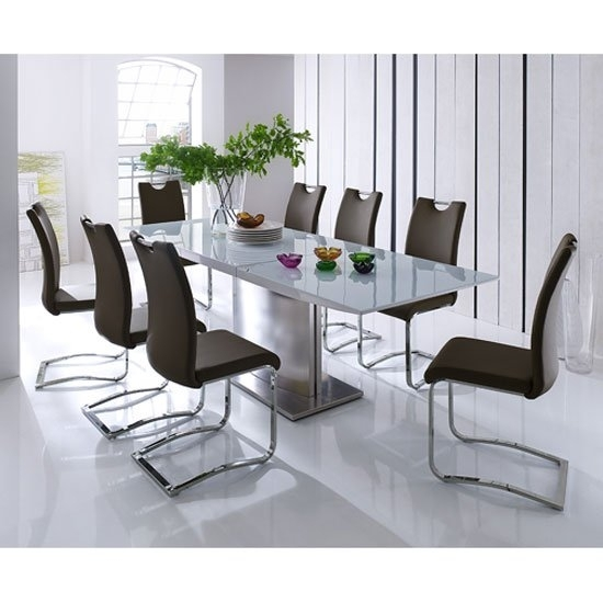 Helio Extendable Glass Dining Table With 8 Koln Brown Inside Extending Glass Dining Tables And 8 Chairs (View 2 of 25)