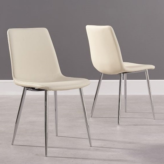 Hemlock Cream Faux Leather Dining Chair In A Pair 34593 Intended For Cream Faux Leather Dining Chairs (Image 15 of 25)
