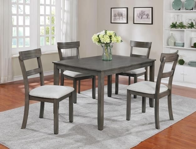 "Henderson Driftwood Grey 5 Piece Dinette $399.00 Table 48"" X 36"" X with Jaxon 5 Piece Extension Counter Sets With Fabric Stools"