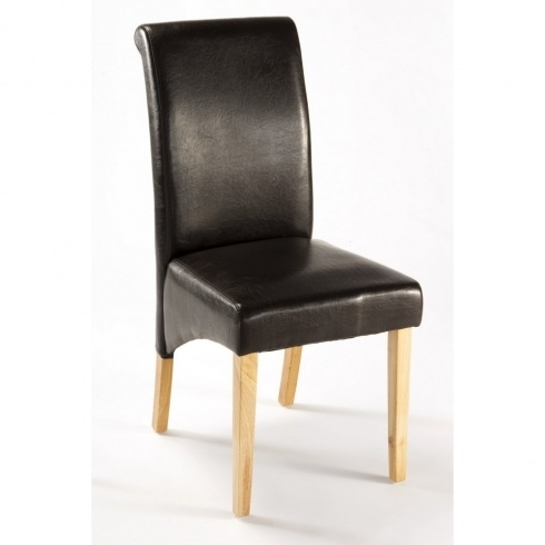 Henley Faux Leather Dining Chair – Dark Brown Intended For Dark Brown Leather Dining Chairs (Image 14 of 25)