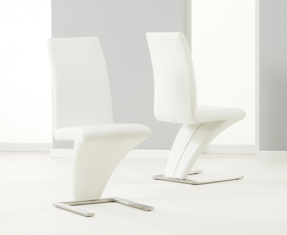 Hereford White Pu Leather Dining Chair X 2 | Morale Home Furnishings With Regard To White Leather Dining Room Chairs (Image 8 of 25)