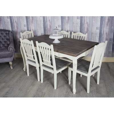 Heritage Shabby Chic French Cream Dining Table With 6 Chairs Intended For Shabby Chic Cream Dining Tables And Chairs (Image 12 of 25)