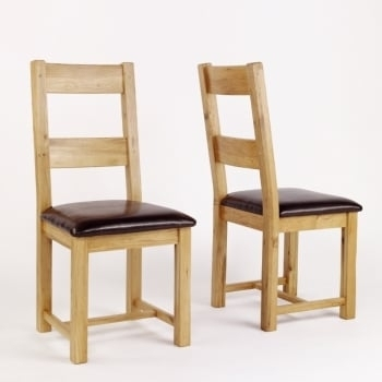 Heywood Reclaimed Oak Leather Dining Chair - Pack Of 2 | The pertaining to Oak Leather Dining Chairs