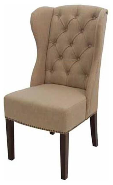 High Back Wing Tufted Dining Armchair, Fabric – Transitional Pertaining To High Back Dining Chairs (Image 12 of 25)