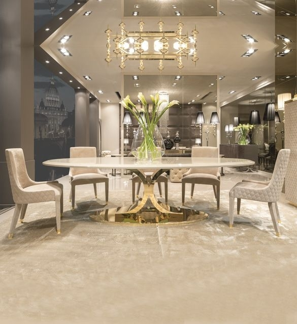 High End Gold Oval Designer Dining Table Set In 2018 | Dining Room For Helms 6 Piece Rectangle Dining Sets With Side Chairs (Image 12 of 25)