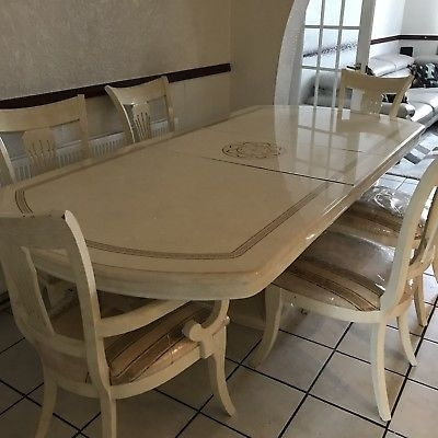 High End Italian Cream Lacquered Dining Table & Chairs – £ (Image 14 of 25)