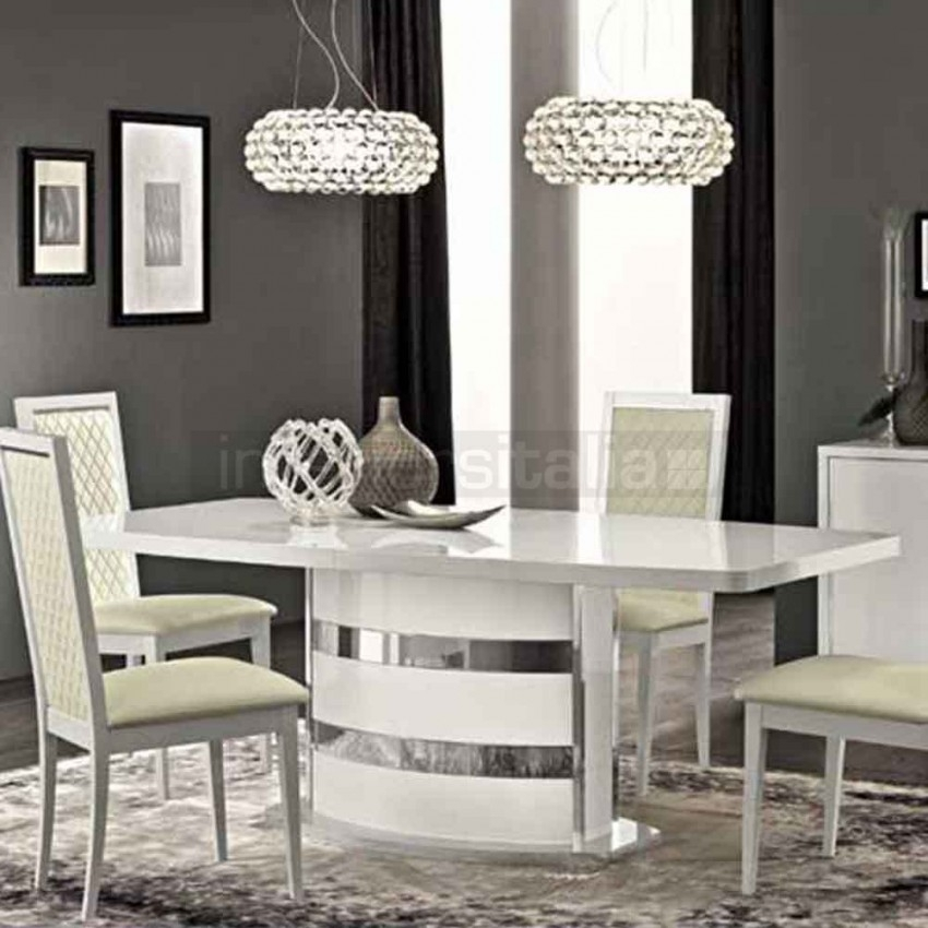 High Gloss Dining Set | Roma | Clearance Sale Pertaining To White Gloss Dining Room Tables (Image 9 of 25)